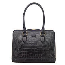 Buy OSPREY LONDON Blakely Leather Croc Shoulder Bag, Black Online at johnlewis.com