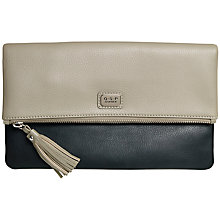 Buy O.S.P OSPREY London Nappa Leather Foldover Clutch Bag, Grey Online at johnlewis.com