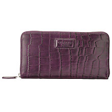 Buy OSPREY LONDON Large Gaumont Leather Croc Zip Around Purse, Purple Online at johnlewis.com