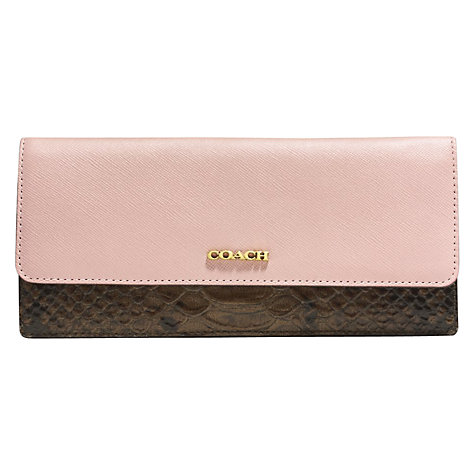 Buy Coach Saffiano Leather Colourblock Soft Wallet, Rose Petal Online at johnlewis.com