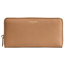 Buy Coach Saffiano Leather Zip Around Purse, Brindle Online at johnlewis.com