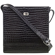 Buy O.S.P OSPREY Lazio Baby Croc Leather Work Bag, Black Online at johnlewis.com