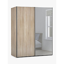 Buy John Lewis Elstra 150cm Wardrobe with Light Rustic Oak and Mirrored Sliding Doors Online at johnlewis.com