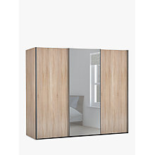 Buy John Lewis Elstra 250cm Wardrobe with Light Rustic Oak and Mirrored Sliding Doors Online at johnlewis.com