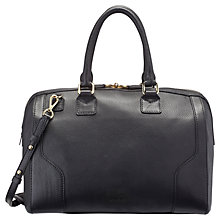 Buy Jaegar Hastings Leather Bowling Bag, Black Online at johnlewis.com