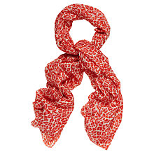 Buy Jaeger Leopard Silk Scarf, Red Online at johnlewis.com
