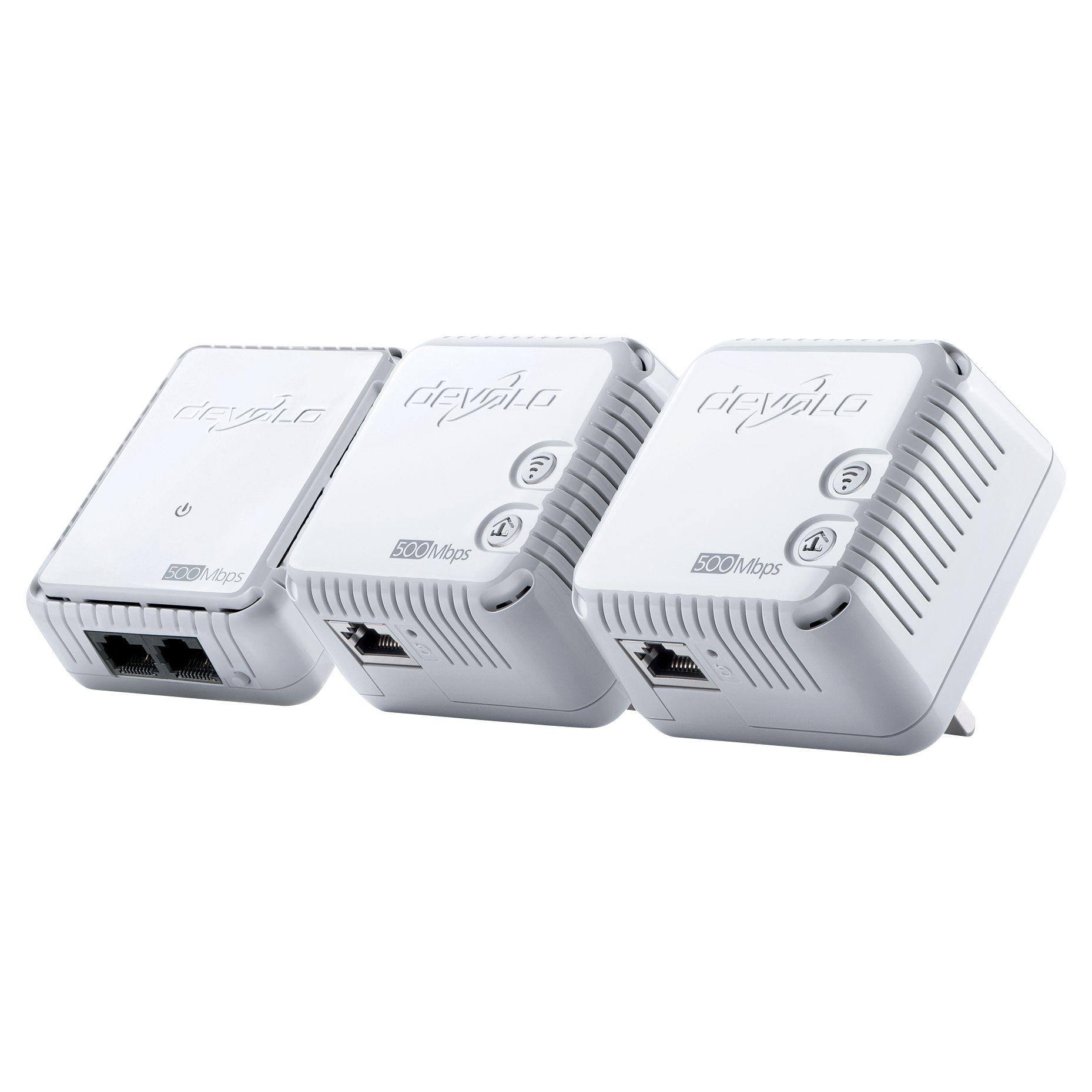 Devolo Devolo dLAN 500 Wi-Fi Powerline Network Kit, Triple Pack