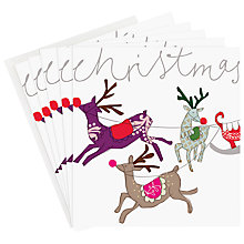 Buy Caroline Gardner Reindeer Sleigh Charity Christmas Cards, Box of 5 Online at johnlewis.com