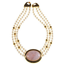 Buy Alice Joseph Vintage 1980's Rose Quartz Stone Necklace, Pink Online at johnlewis.com