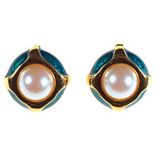 Buy Alice Joseph Vintage 1980s Pearl And Enamel Clip-On Earrings, Green Online at johnlewis.com