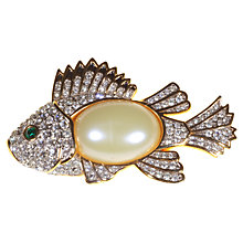 Buy Alice Joseph Vintage 1993 Edgar Berebi Diamante And Pearl Fish Brooch Online at johnlewis.com