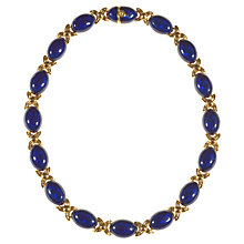 Buy Alice Joseph Vintage 1980s Oval Enamel Gilt Metal Necklace, Blue Online at johnlewis.com