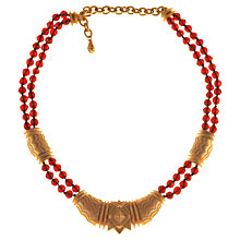 Buy Alice Joseph Vintage Glass Bead Aztec Gilt Station Necklace, Garnet Online at johnlewis.com