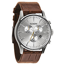 Buy Nixon A405-188 Men's Sentry Chrono Leather Watch Online at johnlewis.com