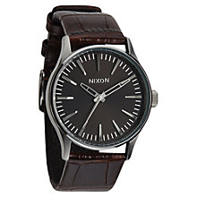 Buy Nixon A377-1887 Men's Sentry 38 Leather Watch, Brown / Gunmetal Online at johnlewis.com