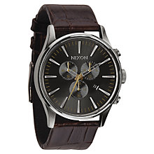 Buy Nixon A405-1887 Men's Sentry Chronograph Leather Strap Watch, Brown/Gunmetal Online at johnlewis.com