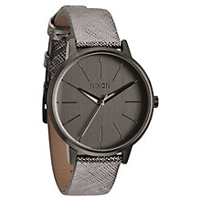 Buy Nixon A108-1923 Women's The Kensington Leather Watch, Gunmetal Online at johnlewis.com
