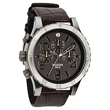 Buy Nixon A363-1887 48-20 Men's Chronograph Leather Watch, Brown Online at johnlewis.com