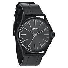 Buy Nixon A377-1886 Men's Sentry 38 Leather Watch, Black Online at johnlewis.com