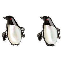 Buy Simon Carter Darwin Penguin Cufflinks, Black/Mother of Pearl Online at johnlewis.com