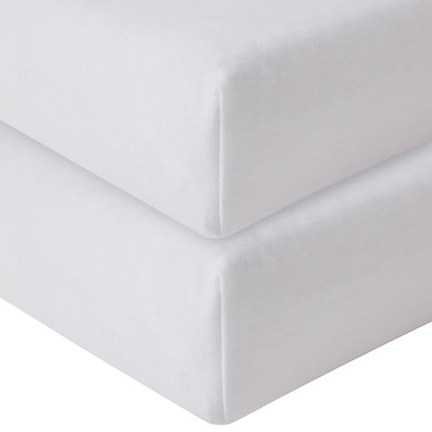 Buy John Lewis Fitted Travel Cot Sheets, Pack of 2, White Online at johnlewis.com