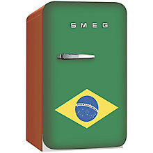 Buy Smeg FAB5RR Retro Mini Bar Fridge, 40cm Wide, Brazil Flag Online at johnlewis.com