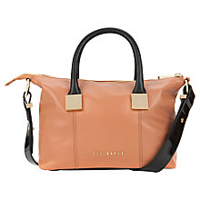 Buy Ted Baker Frimlor Metal Square Leather Tote Bag, Tan Online at johnlewis.com
