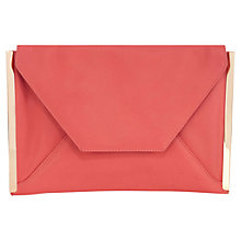 Buy Oasis Cara Leather Envelope Clutch Bag, Coral Online at johnlewis.com