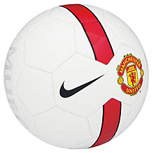 Buy Nike Manchester United Supporters Football, Size 5, White/Red Online at johnlewis.com