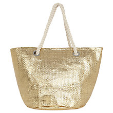 Buy Oasis Straw Shopper Bag, Gold Online at johnlewis.com