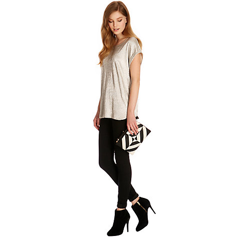 Buy Oasis Zip Top Across Body Bag, Black/White Online at johnlewis.com