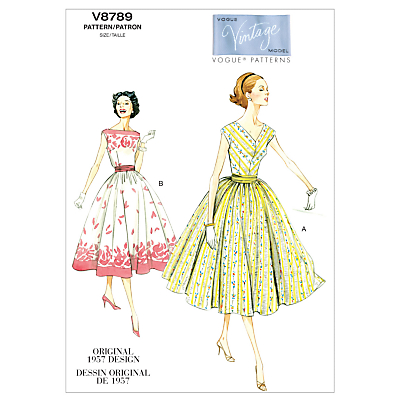 1950s Sewing Patterns- Dresses, Skirts, Tops, Pants Vogue Vintage Womens Dresses Sewing Pattern 8789 £6.00 AT vintagedancer.com