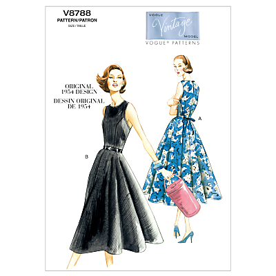 1950s Sewing Patterns- Dresses, Skirts, Tops, Pants Vogue Vintage Womens Dresses Sewing Pattern 8788 £6.00 AT vintagedancer.com