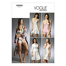 Buy Vogue Women's Robe, Slip and Camisole Sewing Pattern, 8888 Online at johnlewis.com