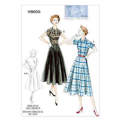 1950s Sewing Patterns- Dresses, Skirts, Tops, Pants Vogue Vintage Womens Dress Sewing Pattern 9000 £6.00 AT vintagedancer.com