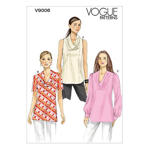 Buy Vogue Women's Tops Sewing Pattern, 9006 Online at johnlewis.com
