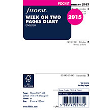 Buy Fliofax Pocket Organiser Inserts, Week On 2 Pages 2015, White Online at johnlewis.com