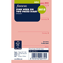 Buy Filofax Mini Personal Organiser Inserts, Week On 2 Pages 2015, Pink Online at johnlewis.com