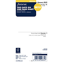 Buy Filofax Personal Organiser Inserts, Two Days Per Page 2015 Diary, White Online at johnlewis.com