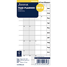 Buy Filofax Personal Organiser Inserts, Horizontal Year Planner 2015, White, Online at johnlewis.com