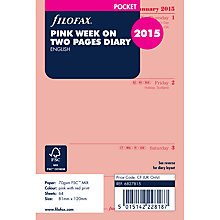 Buy Filofax Pocket Organiser Inserts, Week On 2 Pages 2015, Pink Online at johnlewis.com