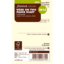 Buy Filofax Mini Personal Organiser Inserts, Week On 2 Pages 2015, Cream Online at johnlewis.com