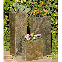 Buy Foras Set of 3 Surmi Planters, Natural Slate Online at johnlewis.com