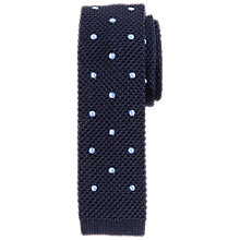 Buy John Lewis Heavy Knitted Dot Tie, Navy/Blue Online at johnlewis.com
