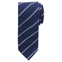Buy John Lewis Fine Stripe Tie, Navy/White Online at johnlewis.com