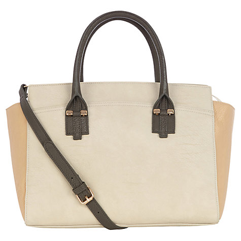 Buy Warehouse Colourblock Tote Bag, Cream Online at johnlewis.com