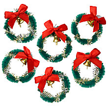 Buy John Lewis Christmas Mini Wreaths With Bells, Pack Of 6 Online at johnlewis.com