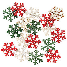 Buy John Lewis Wooden Small Snowflakes, Pack Of 18 Online at johnlewis.com