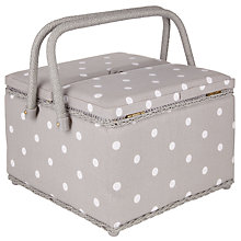 Buy John Lewis Spot Twin Lid Sewing Basket, Grey Online at johnlewis.com
