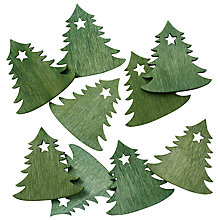 Buy John Lewis Wooden Christmas Trees, Pack Of 9, Green Online at johnlewis.com